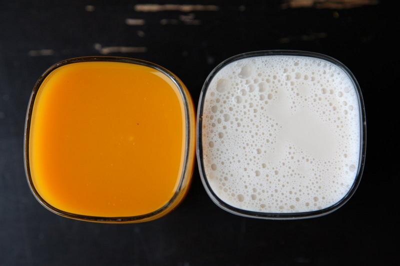 Làm trắng da bằng sữa tươi và cam
