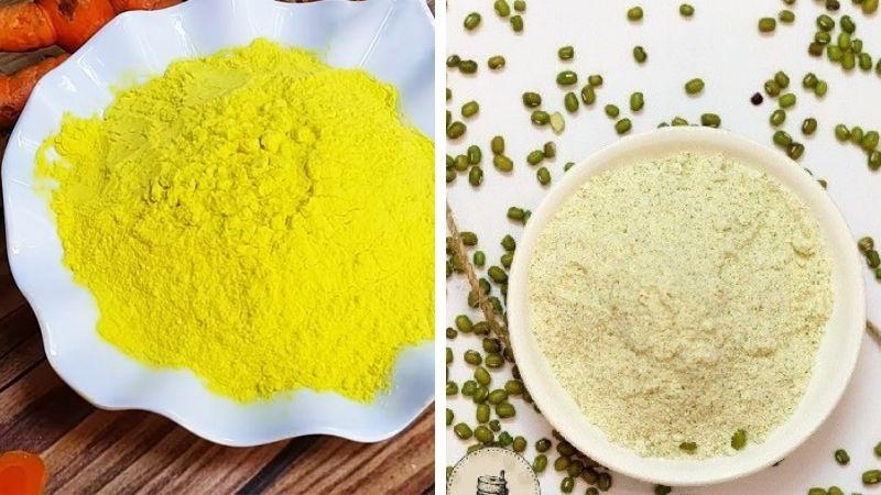 Bạn có thể sử dụng công thức tinh bột nghệ và bột đậu xanh