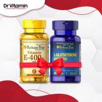 Combo cho làn da trắng sáng L – Glutathione và vitamin E của Puritan's Pride